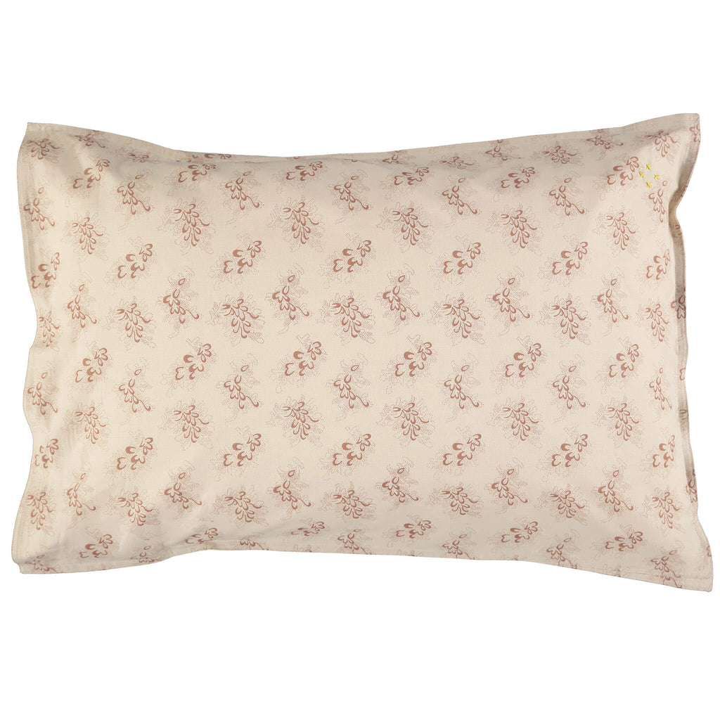 Celia print stone pillowcase with mink floral print bedding camomile london