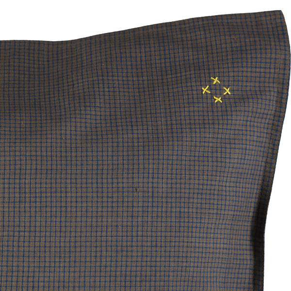 Mocca brown fitted sheet with blue graph check print hand stitched soft organic cotton camomile london