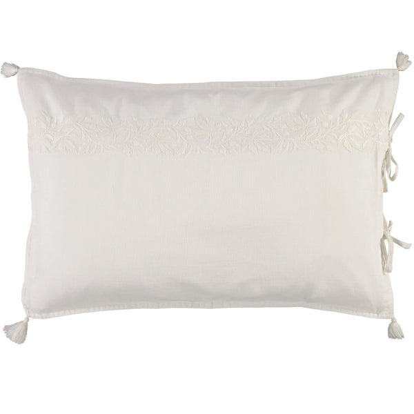 Chalk white 100% cotton pillowcase with stunning white on white ivy pattern embroidery, white tassels and hand ties to close Bedding by camomile london