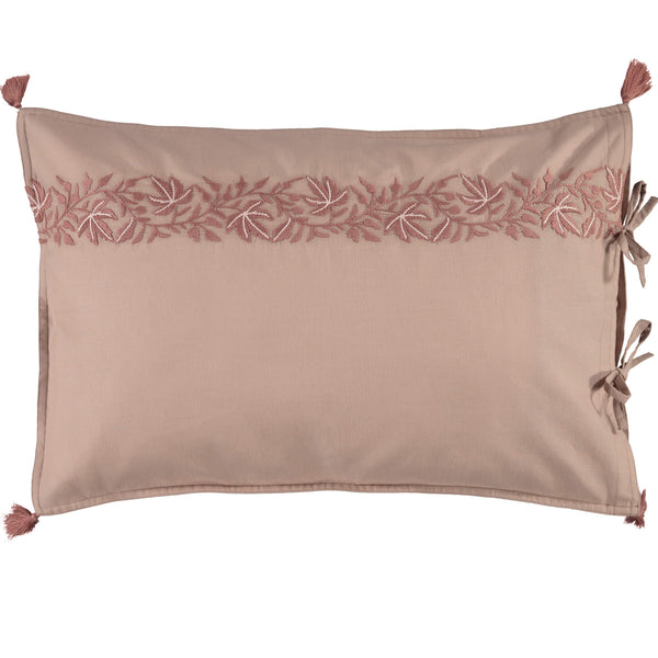 Ivy Motif Embroidered Pillowcase - Mink