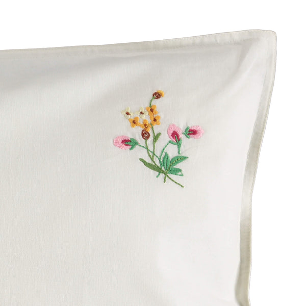 Embroidered Pink Flower Pillowcase - Off White