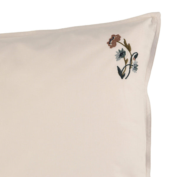 Stone pillowcase with mink, olive and blue botanical embroidery victorian inspired bedding by camomile london