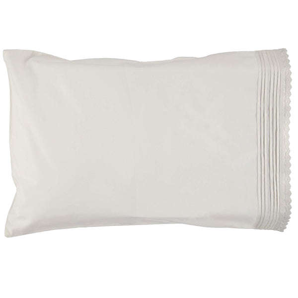 Pin Tuck Embroidered Edge Pillowcase - Chalk