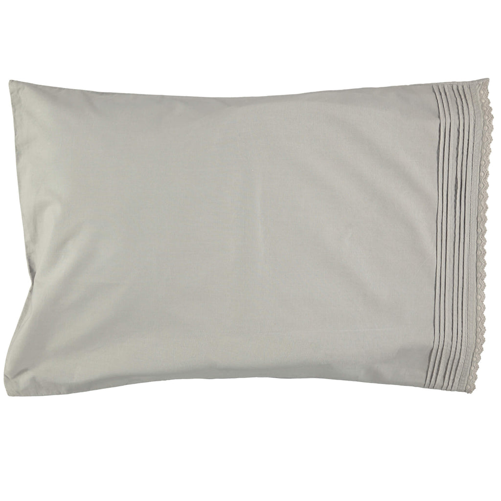 Pin Tuck Embroidered Pillowcase - Feather Grey