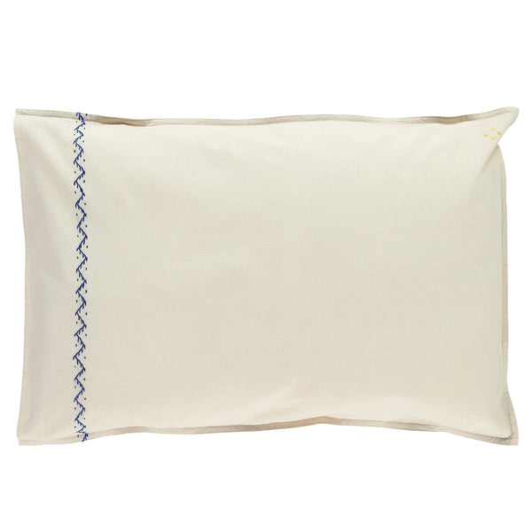 Zig Zag Hand Embroidered Pillowcase