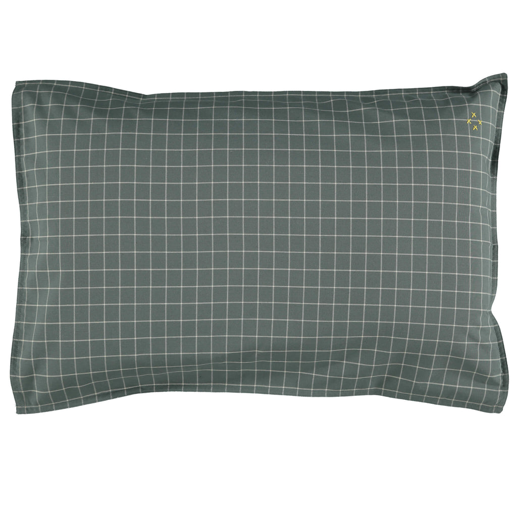 Teal pillowcase with stone check print organic cotton bedding camomile london