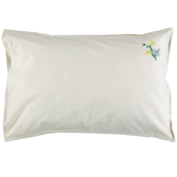 Embroidered Yellow Flower Pillowcase - Off White