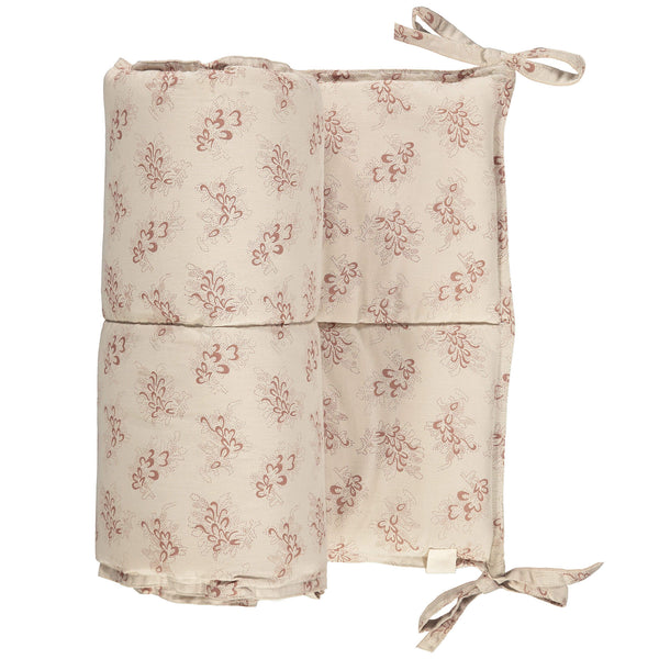 Celia warm stone cot bumper with mink floral print 100% soft cotton and 100% anti-allergy polyester filling bedding by camomile london