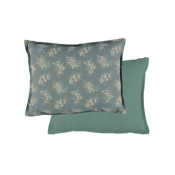Celia soft blue padded cushion with stone floral print outer shell 100% cotton and inner filling anti allergy polyester size 22cm x 30cm bedding by camomile london