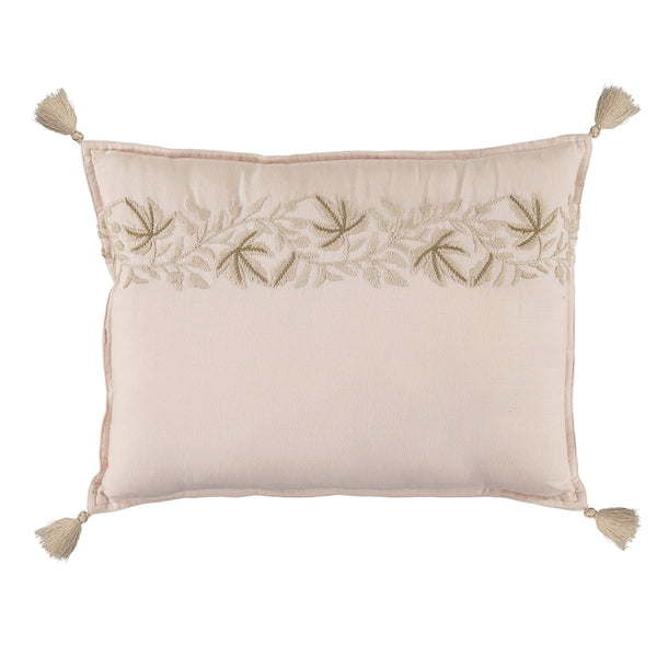 Camomile london pearl pink padded cushion with Ivy leaf embroidery