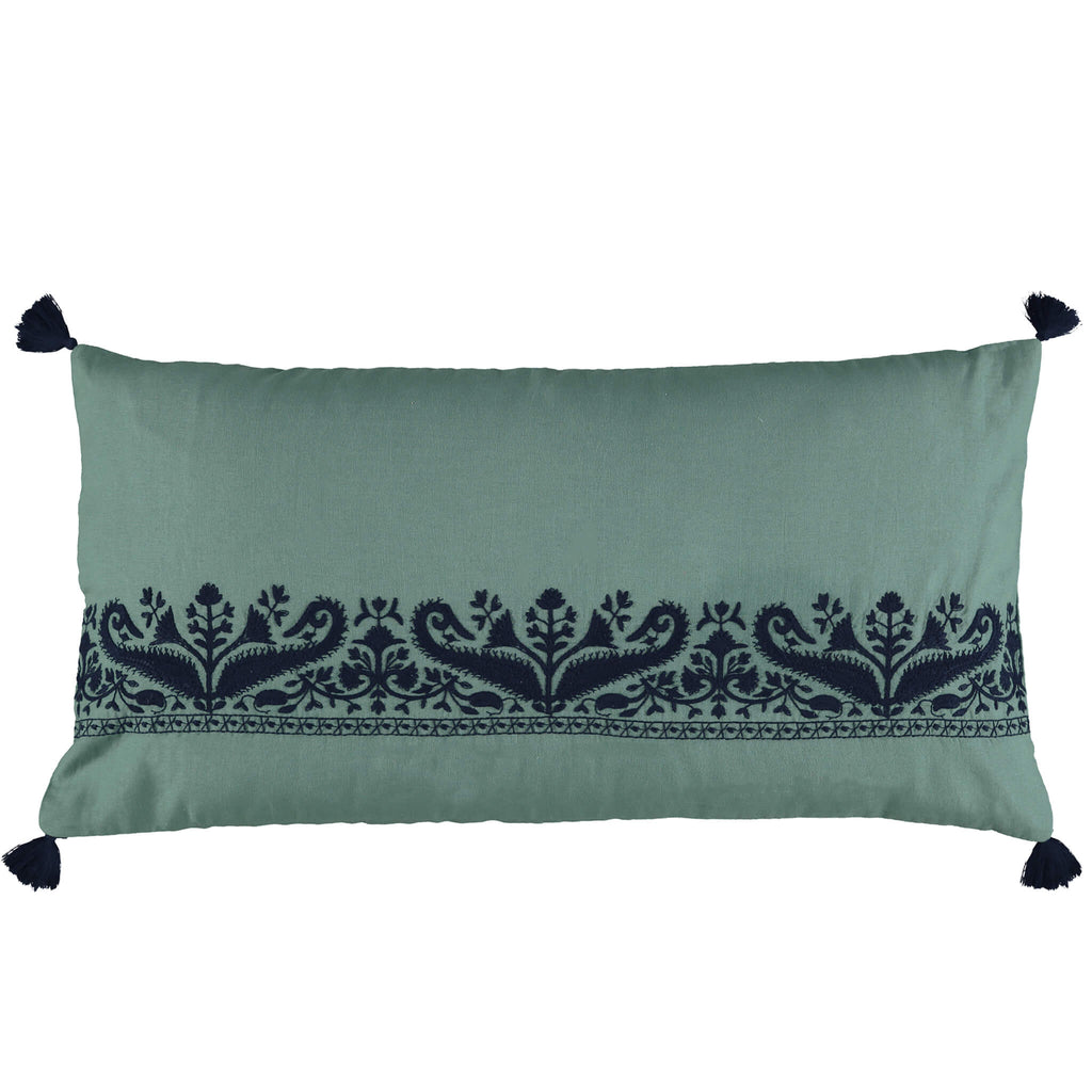Teal Paisley Embroidered Bolster Cushion Cover