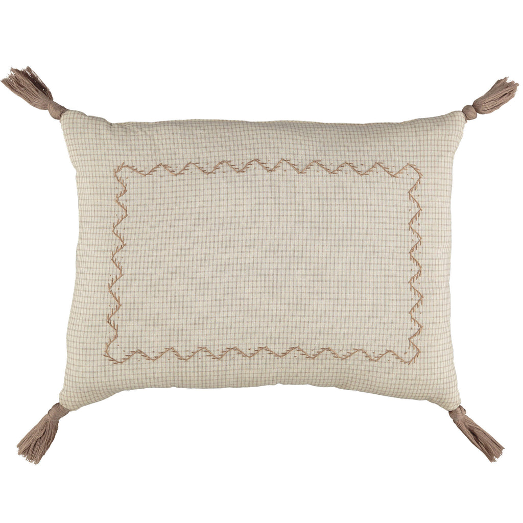 Double check ivory and clay padded cushion with zig zag embroidery and mink tassels organic cotton bedding camomile london