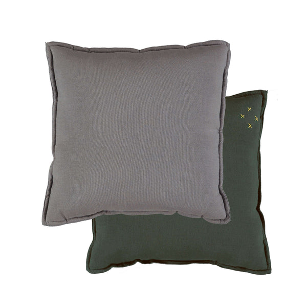 Camomile Padded Cushion - Dark Green and Blue Grey