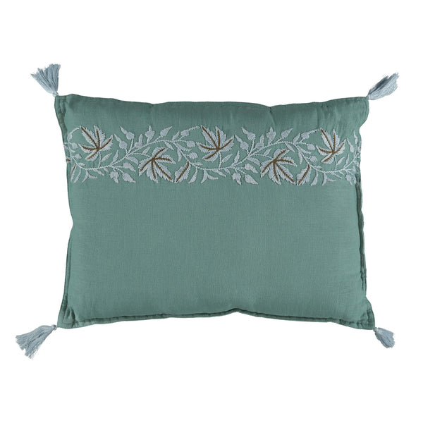 Beautiful botanical leaf embroidered cushion by camomile london in a soft teal and pale blue