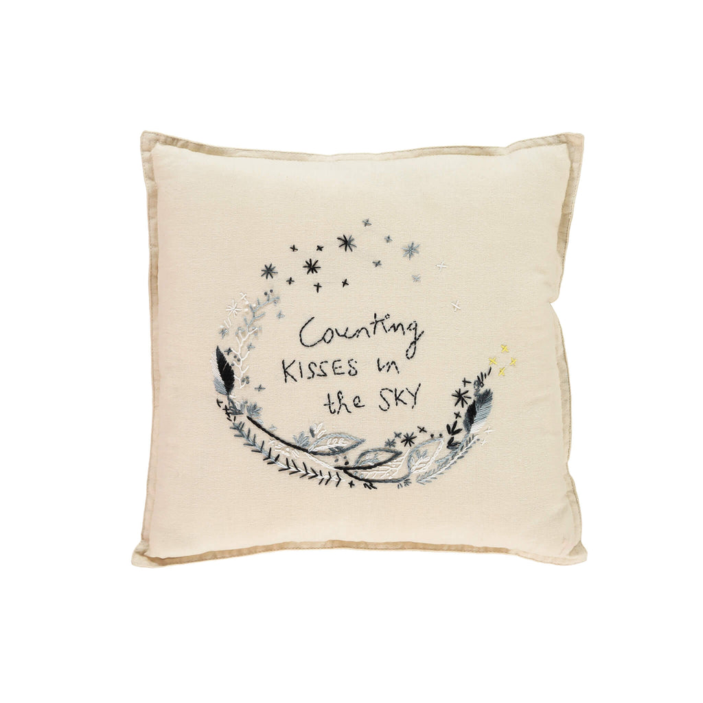 Camomile Padded Cushion - 'Counting Kissing' Black