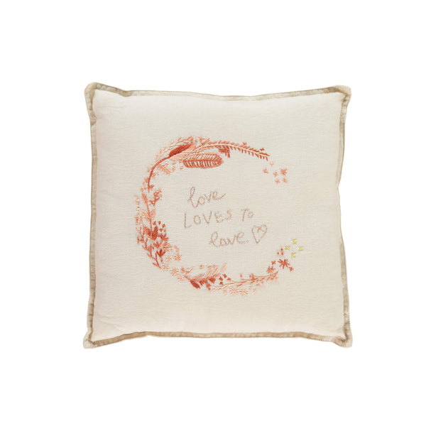 Camomile Padded Cushion - Love