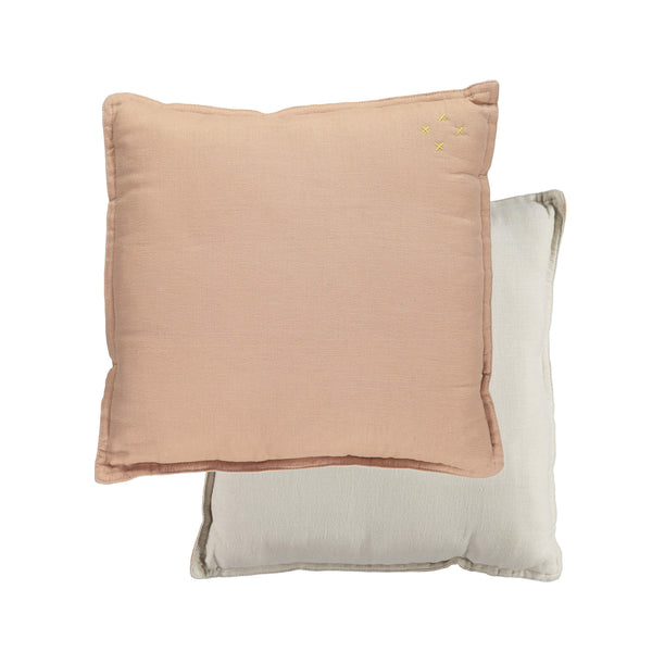 Camomile Padded Cushion - Peach Blossom and Stone