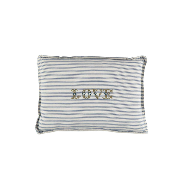 Camomile Love Padded Cushion - Ticking Stripe Blue
