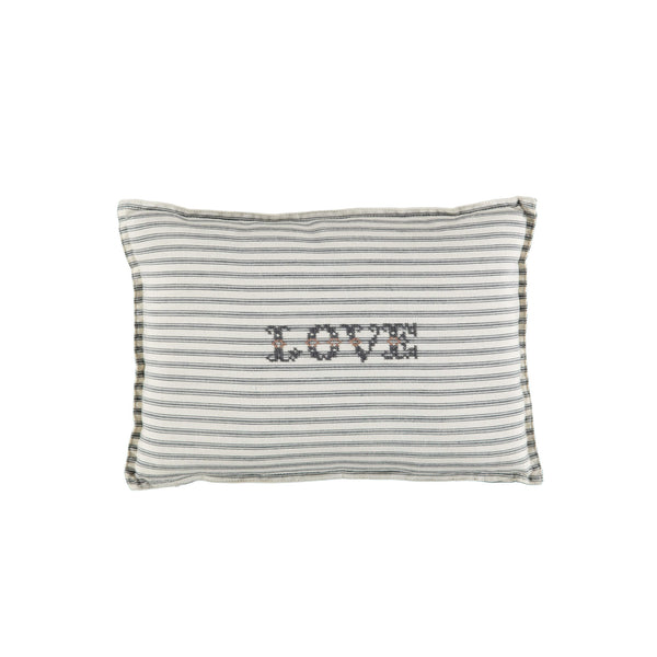 Camomile Love Padded Cushion - Ticking Stripe Charcoal