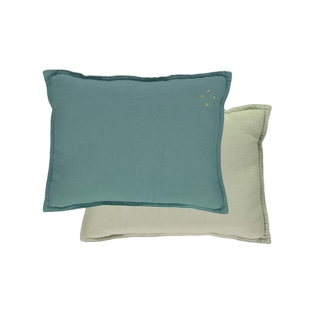 Camomile Padded Cushion - Teal and Mint