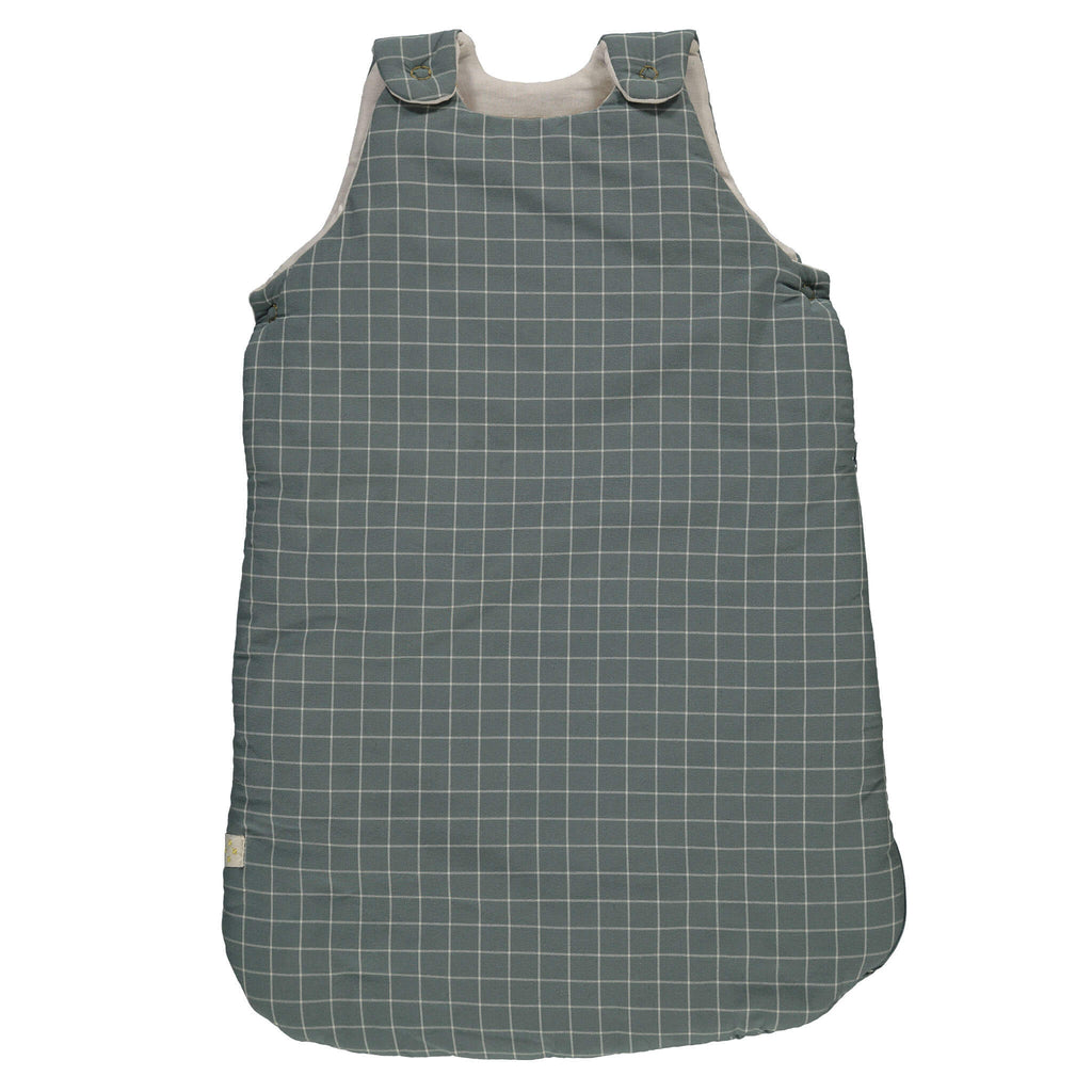 Window pane check sleeping bag with teal base and stone check featuring shoulder and underarm poppers and a side zip soft cotton double muslin inner lining bedding by camomile london