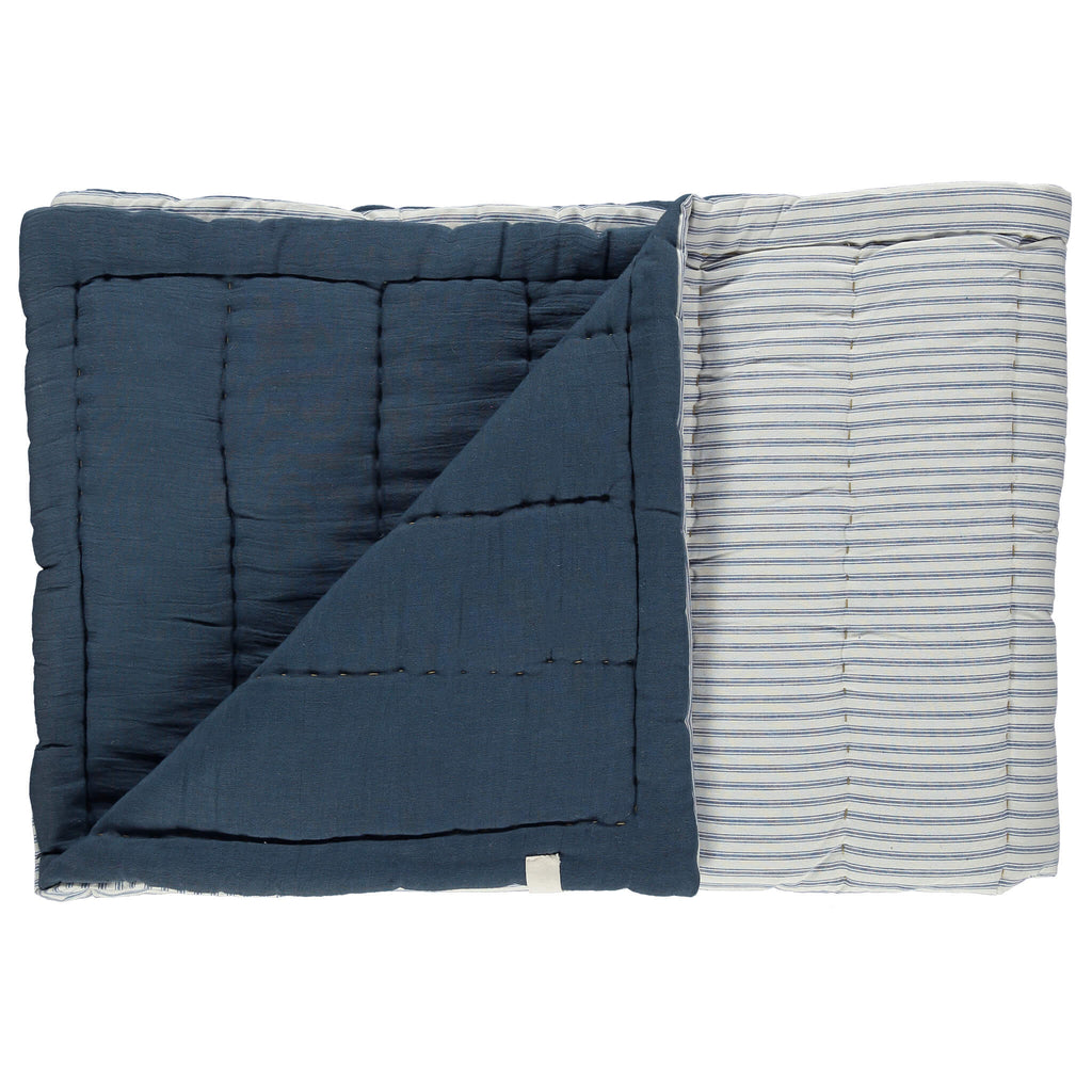 Blue Ticking Stripe Hand Quilted Large Blanket