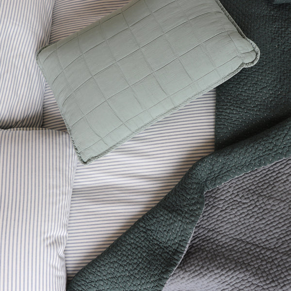 Square Quilted Gauze Cushion Cover - Sage