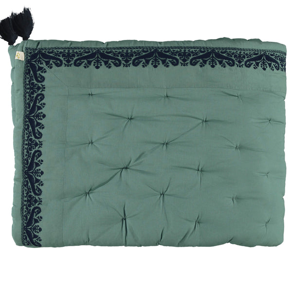 Paisley Embroidered Counterpane Bedspread - Teal/ Navy