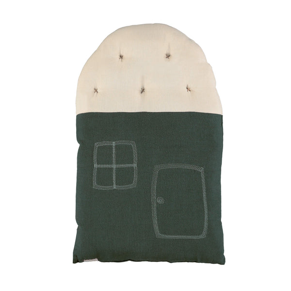 Small House cushion - Dark Green/ Stone