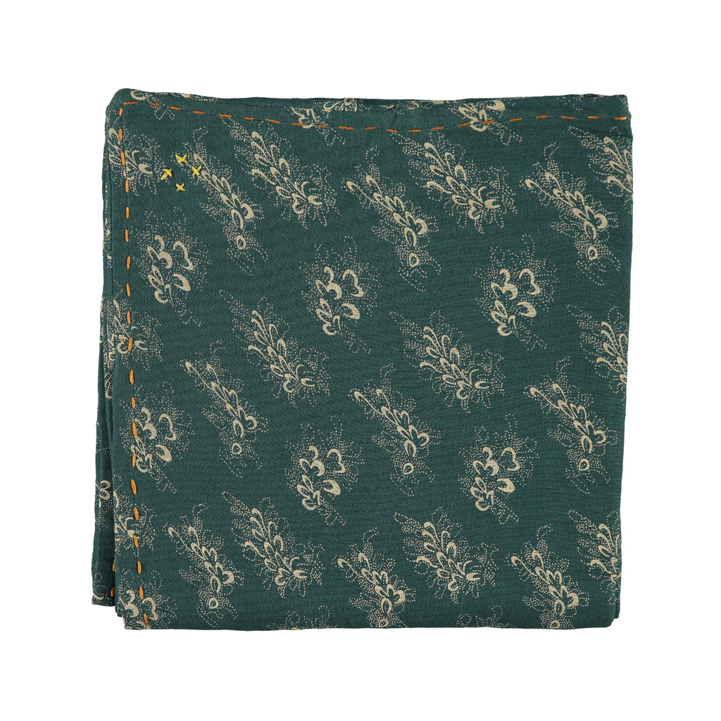 Single Layer Swaddle Blanket - Celia Forest Green / Stone