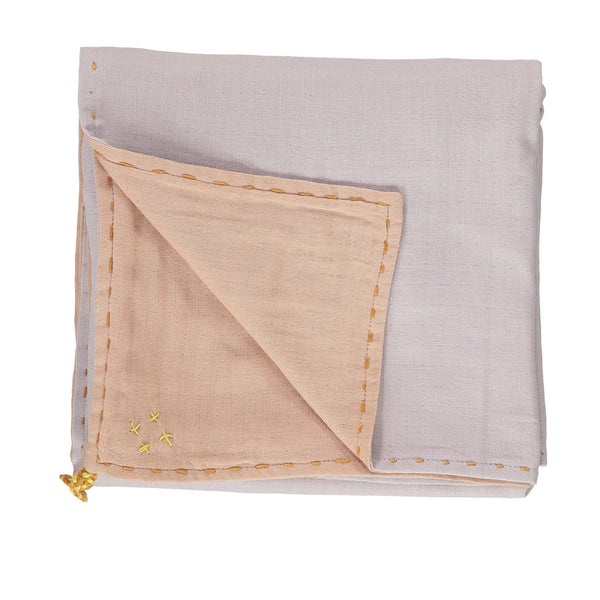 Double Layer Reversible Swaddle Blanket - Peach Blossom and Ash