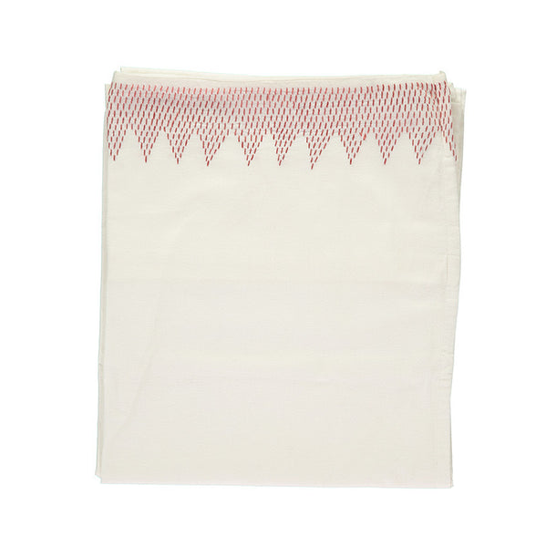 Zig Zag Hand Embroidered Top Summer Flat sheet - Ivory/Deep Rose