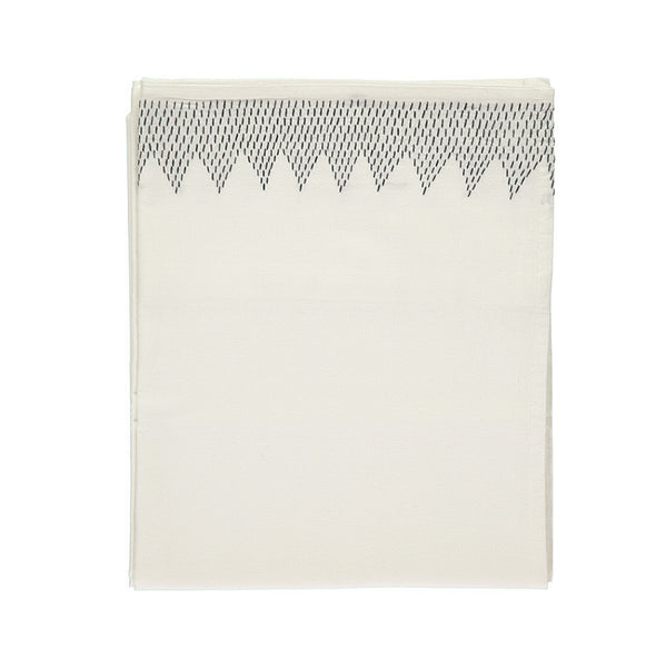 Zig Zag Hand Embroidered Top Flat Summer sheet - Ivory/Dark Grey
