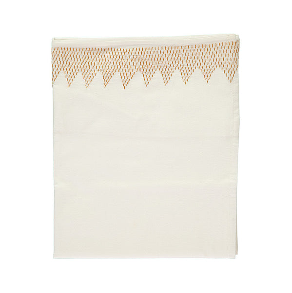 Zig Zag Hand Embroidered Top Flat Summer sheet - Ivory/Golden