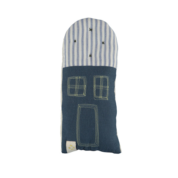 Petit House cushion - Blue Ticking Stripe