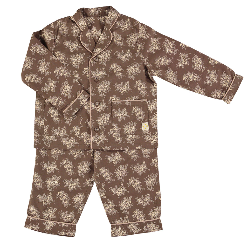 Children's / girls cotton button up pyjamas Celia print with a rich bark base and warm stone floral traditional piping and 2 front pockets