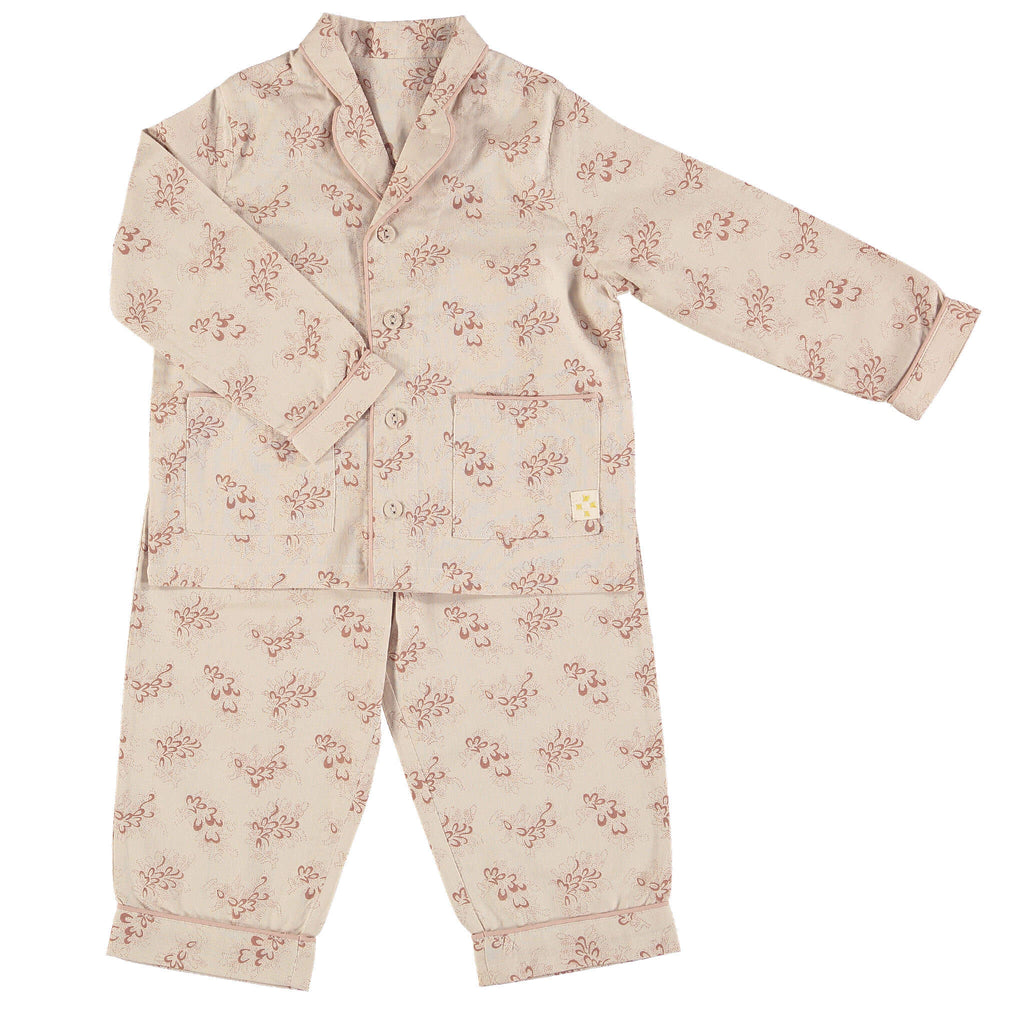 Children's / girls cotton button up pyjamas in a mink and stone Celia floral print with traditional piping and 2 front pockets