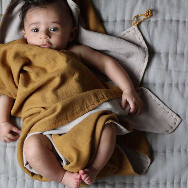 Double Layer Reversible Swaddle Blanket - Ochre and Ash