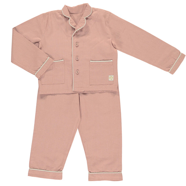 Mini Check Coral Unisex Pyjama set