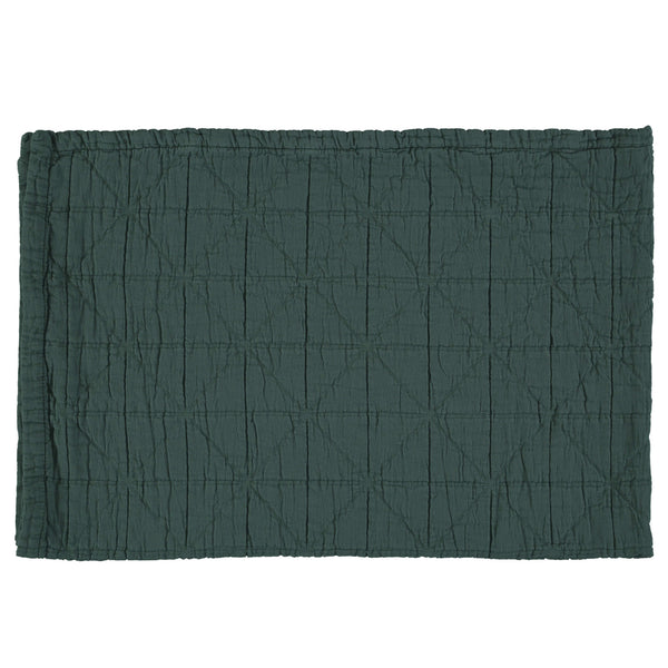 Diamond Soft Organic Cotton Blanket - Dark Green