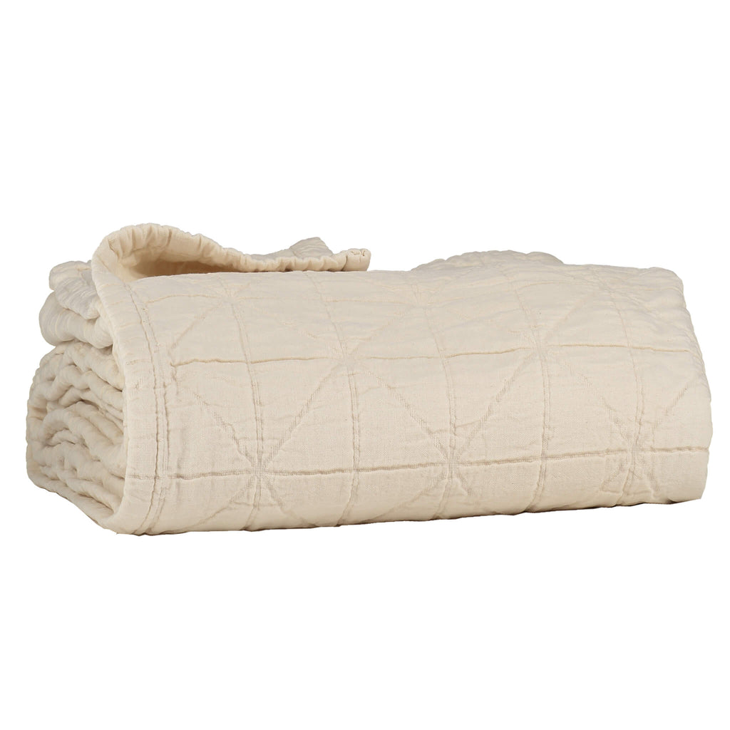 Diamond Soft Cotton King Size Blanket - Natural