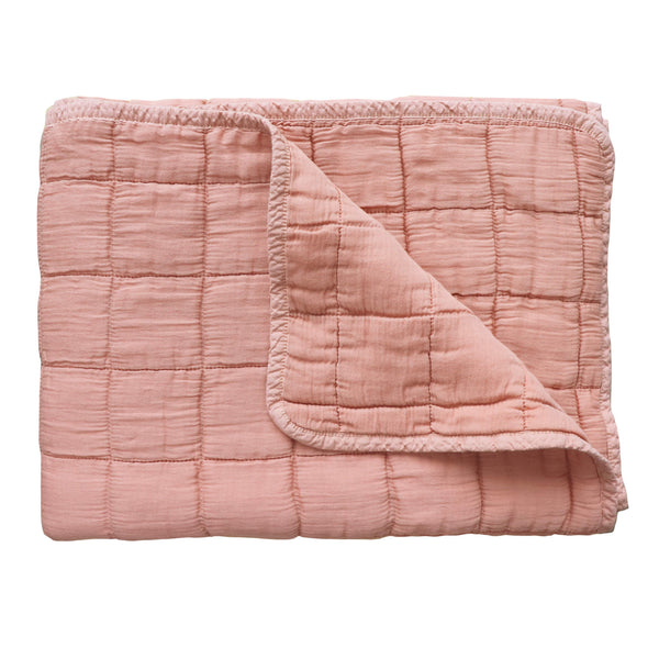 Square quilted blanket in peach 100% soft cotton gauze and lightly wadded comes in 4 different sizes bedding by camomile london
