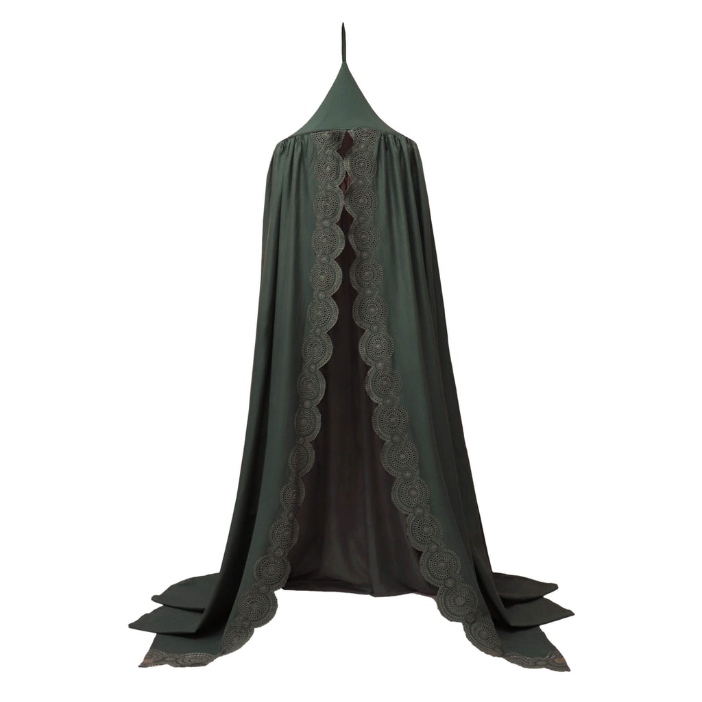 Soft cotton gauze canopy in dark green with intricate broderie anglais edging, hand cut by skilled artisans. Made by camomile london.