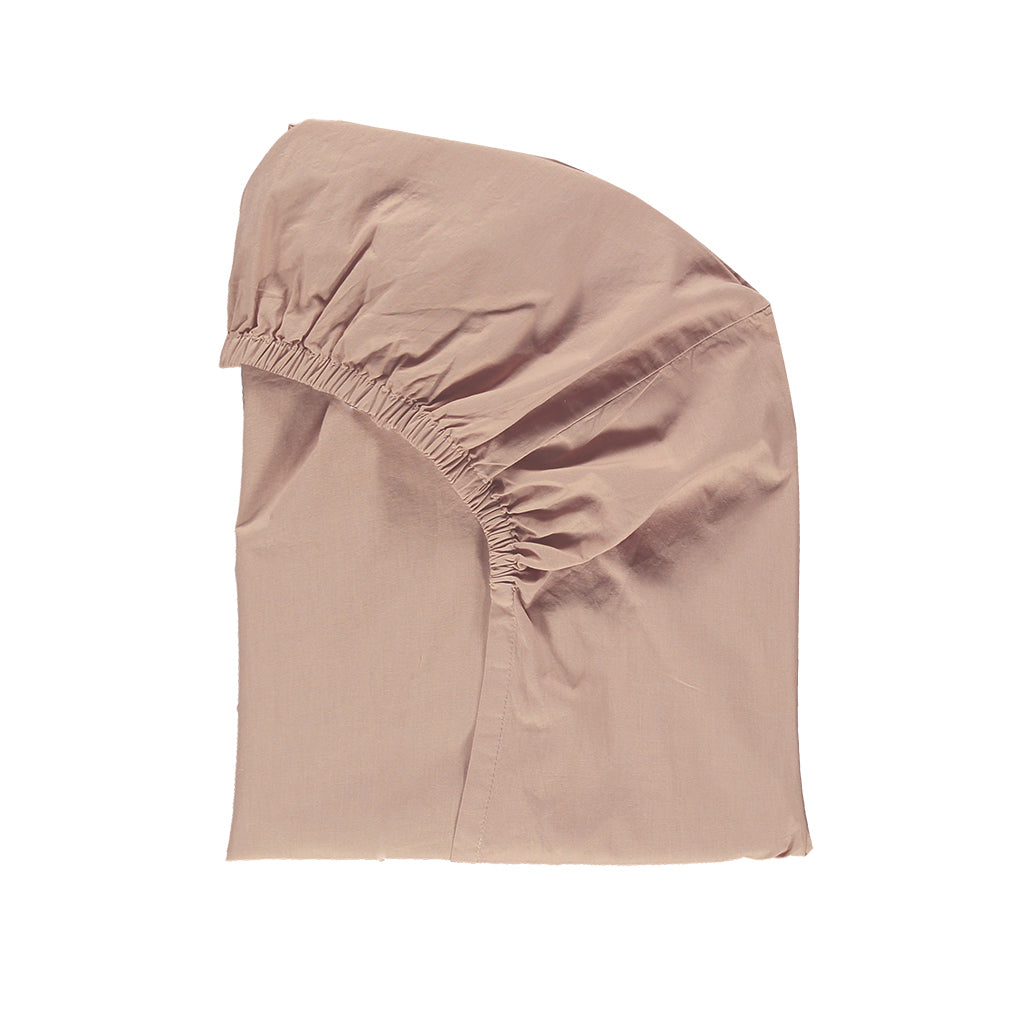 Cotton percale Clay Pink fitted sheet
