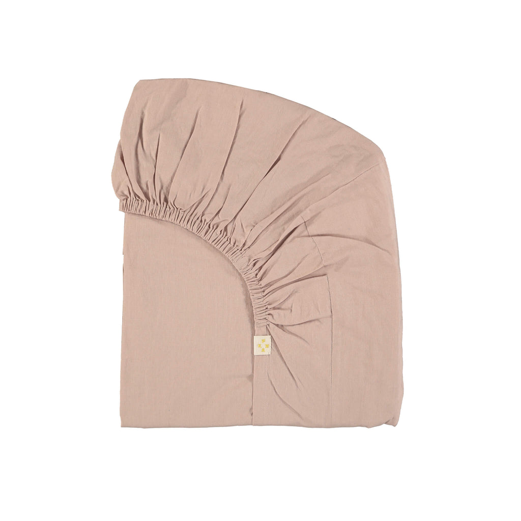 Light mink pink fitted sheet baby children and adult sizes with elasticated ends organic cotton camomile london