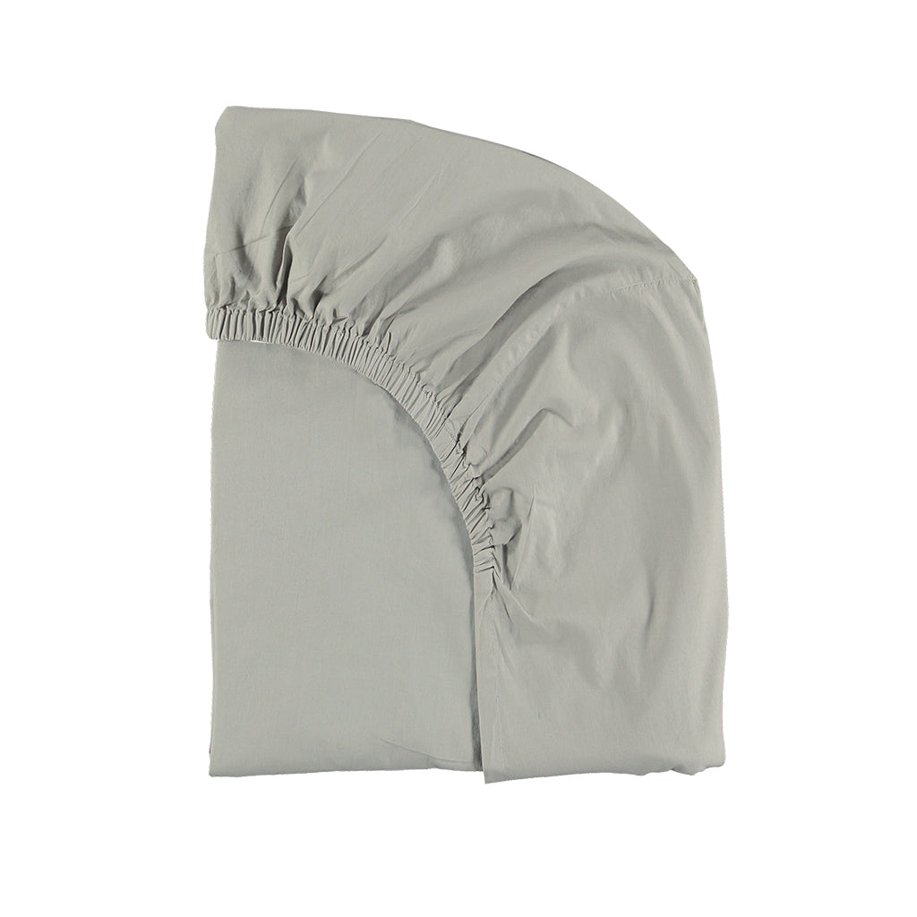 Feather Grey Cotton percale fitted sheet - Large sizes