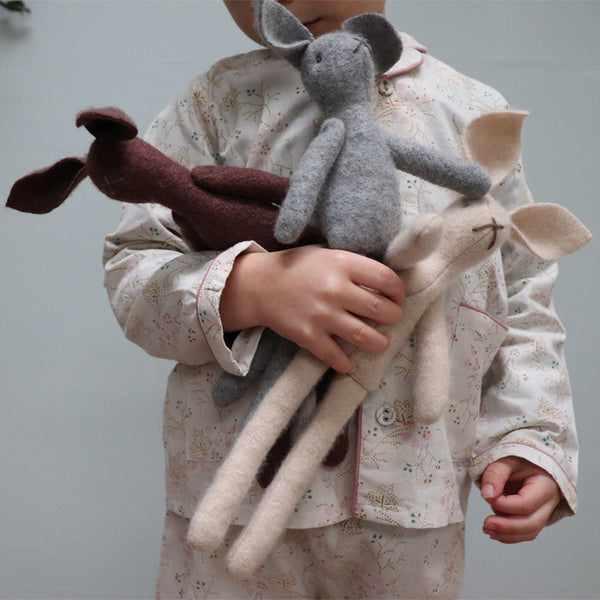 Hand made wool bunny with organic wool and lavender filling - Grey/ Cream/ Coco/Black