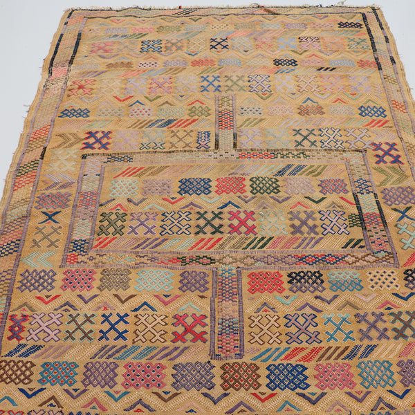 Large Camel and Pastel Vintage Morocco Atlas Mountain Tribal rug