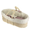 stone and Blush reversible moses basket bedding set by camomile london