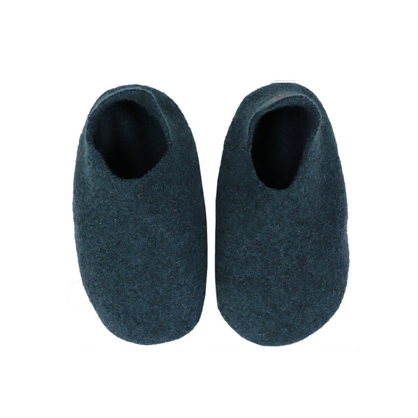 Hand made Boiled Merino Wool Slippers - Petrol
